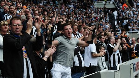 Fans at the Huddersfield game at home from We Are The Geordies documentary