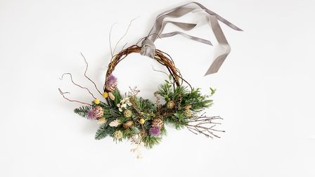 Electric Daisy flower Farm wreaths are made from flowers and willow grown on their Somerset farm.