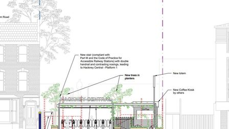 An elevation of the proposed new station entrance in Graham Road. Picture: Hackney Council