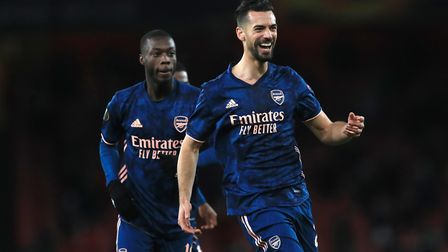 Arsenal's Pablo Mari (right) celebrates scoring his side's second goal of the game