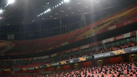 A general view of socially distanced fans in the stands during the UEFA Europa League Group B match at The Emirates...