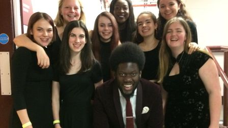 Michael Kiwanuka with students from Young Music Makers. Picture: YMM