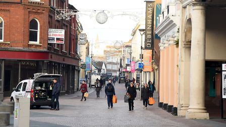 Shoppers are welcomed back to the Ipswich during the first day out of the second national lockdown. Picture: CHARLOTTE BOND