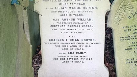 The gravestone of Arthur William Norton in Highgate Cemtetery, one of the soldiers commemorated on the organ in St...