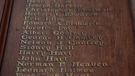 The names of soldiers from the parish on a commemorative plaque in St Mellitus Church