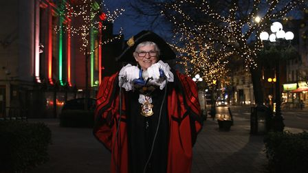 Islington mayor, Cllr Janet Burgess, switching on Christmas lights. Picture: Islington Council