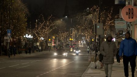 Christmas lights on Upper Street. Picture: Islington Council