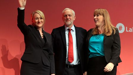 Rebecca Long Bailey, Jeremy Corbyn and Angela Rayner at the Labour Party annual conference. Photogra