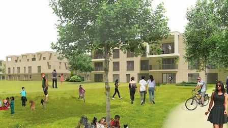 How the new homes at the old Deben High School site in Felixstowe could look - from the cricket field at the rear of the deve...