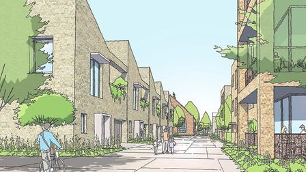 View down the mews street of the proposed transformation of the Deben High School site in Garrison Lane, Felixstowe Picture: ...