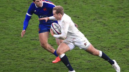 England's Max Malins (right) in action during the Autumn Nations Cup match at Twickenham Stadium