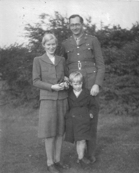 Betty, Thomas and De Lisle Radice in 1945. Picture: Thomas Radice