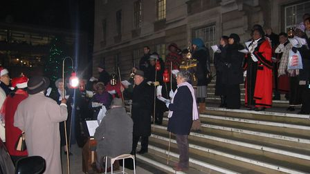 Carol singing on the town hall steps in 2006. Picture: Ian Rathbone