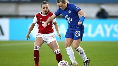 Arsenal's Katie McCabe (left) and Chelsea's Erin Cuthbert battle for the ball during the FA Women's Super League match at Mea...