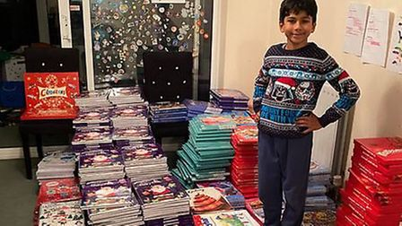 The calendars were collected by Neo and his mum Rina, who then donated them to six charities for onward distribution.