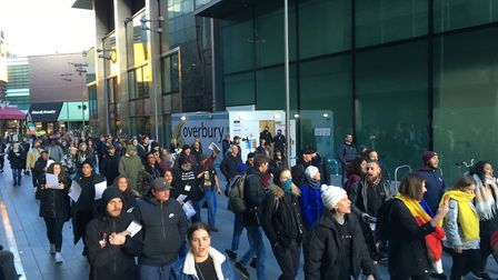 The protesters march through Westfield. Picture: Jon King