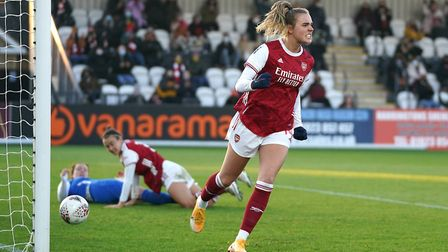 Arsenal's Jill Roord celebrates scoring her side's second goal of the game