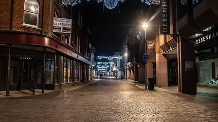 A quiet Ipswich town centre during the second national lockdown, on what would have been the first evening of late night...