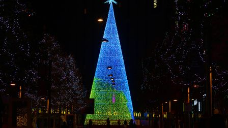 London's tallest LED Christmas tree, Aurora Arbour, at the Royal Triangle in Wembley Park. Picture: David Parry/PA