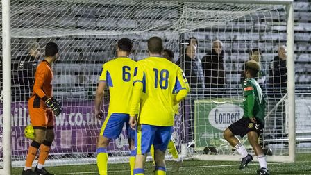 Cheyce Grant turns the ball into the net for Hendon's 2nd goal (Pic: DBeech Photography)