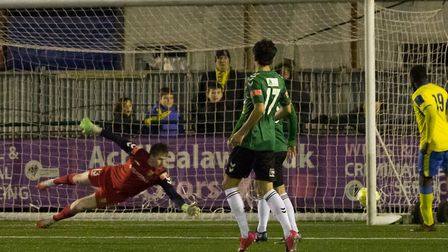 Aaron Dillon is beaten to put Haringey back into the lead (Pic: DBeech Photography)