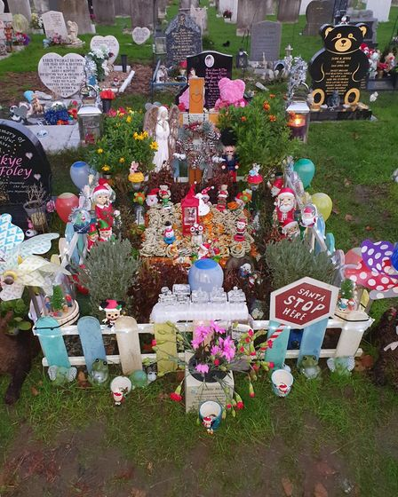 Georgie Pace's grave has been adorned with Christmas decorations. Picture: Kay Pace