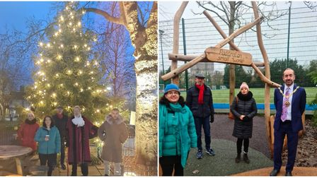 Paddington Rec's Christmas tree (left) and the opening of the play area (right). Pictures: Cllr Rita Begum/Cllr Geoff...