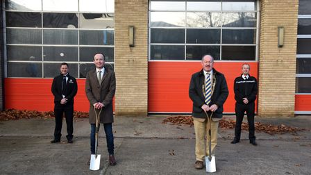 Work is starting on the new joint police and fire station in Princes Street, Ipswich. Pictured are t