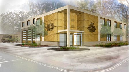 An architects' impression of the new combined police/fire station for Princes Street in Ipswich; Pic