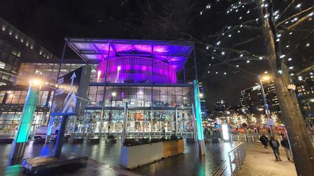 Brent Civic Centre lit up purple for International Day of Persons with Disabilities 2020. Picture: Edward Kaimondo