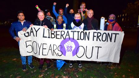 Commemorating the 50th anniversary of the first Gay Liberation Front march, activists gather in Highgbury Fields on...