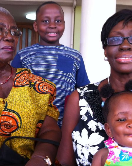 Nhyira, Adepa and their grandmother with mum Abby during her struggle with cancer. Picture: Seiwa Cunningham