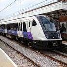 An Elizabeth line train at Shenfield station