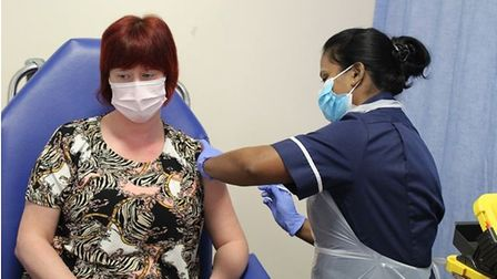 Karen Brown became the first patient at the James Paget Hospital in Gorleston to receive the vaccine.