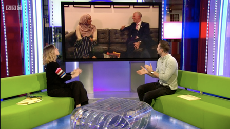 Hosts of The One Show on BBC in the studio speaking with Kensington Primary School headteacher Ben Levinson and assistant...