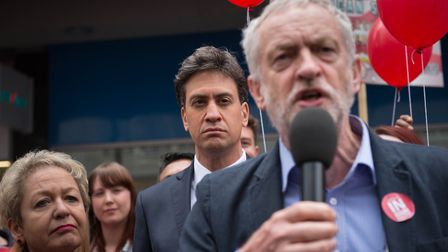 Labour Party leader Jeremy Corbyn (right) and former leader Ed Miliband. Photograph: Stefan Rousseau