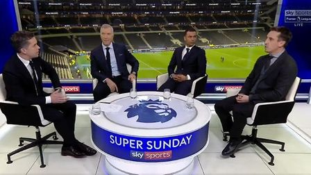 Gary Neville talks about the racist incident after a game between Spurs and Chelsea. Photograph: Sky