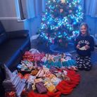 Brooke Mortimore with gifts