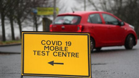 A general view of a Covid-19 mobile test centre sign