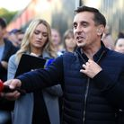 Sky Sports pundit and Salford co-owner Gary Neville gestures before the Carabao Cup First Round matc