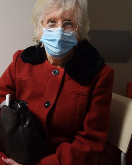 Evelyn Evans, 91, after receiving her Covid-19 vaccination at the Norfolk and Norwich University Hos