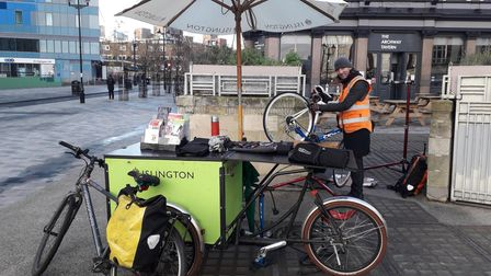 James offering a free Dr Bike service at Archway's Navigator Square.