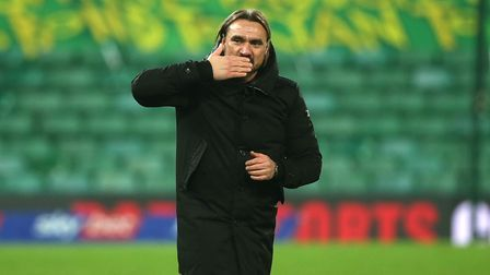 Norwich Head Coach Daniel Farke celebrates victory at the end of the Sky Bet Championship match at C