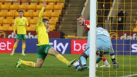Emiliano Buendia of Norwich goes close during the Sky Bet Championship match at Carrow Road, Norwich