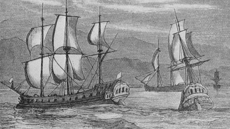 Some of the First Fleet, the ships which took British convicts to Botany Bay, where they established the first European...