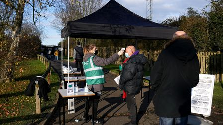 Temperature checks are carried out ahead of the FA Women's Super League match at Meadow Park, London
