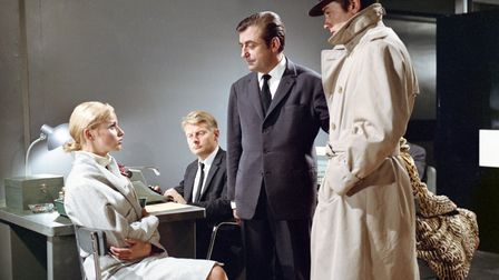 French actors Nathalie Delon, Francois Perier and Alain Delon on the set of Le Samourai, written and
