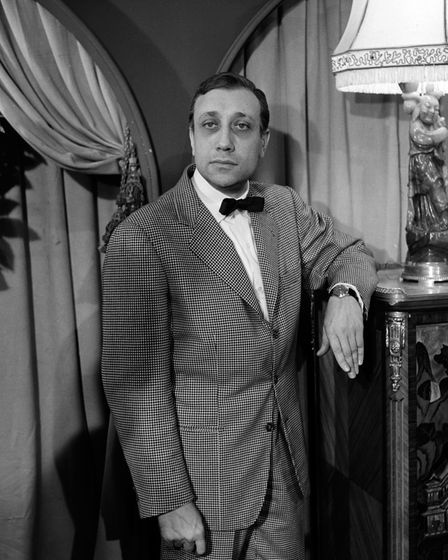 """Jean-Pierre Melville during an interview in the """"""""program"""""""" """""""""""""""" """"""""Cinepanorama"""""""" """""""""""""""" (Photo by D"""