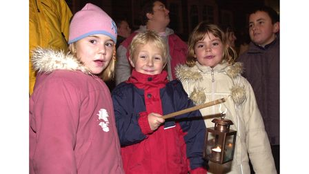 Singing carols at the Felixstowe Christmas lights switch on in 2003