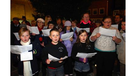 StAndrew Choir from Great Cornard sing carols at Sudbury's Christmas Lights switch on in 2009